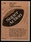 1981 Topps #186  Ray Guy  Back Thumbnail