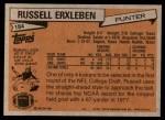 1981 Topps #184  Russell Erxleben  Back Thumbnail