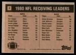 1981 Topps #2   -  Kellen Winslow / Earl Cooper Receiving Leaders Back Thumbnail