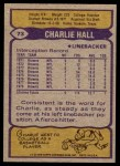 1979 Topps #73  Charlie Hall  Back Thumbnail
