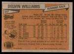 1981 Topps #287  Delvin Williams  Back Thumbnail