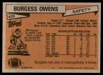1981 Topps #429  Burgess Owens  Back Thumbnail