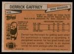 1981 Topps #426  Derrick Gaffney  Back Thumbnail