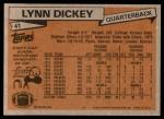 1981 Topps #41  Lynn Dickey  Back Thumbnail