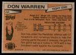 1981 Topps #84  Don Warren  Back Thumbnail