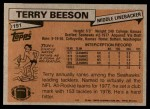 1981 Topps #191  Terry Beeson  Back Thumbnail