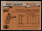 1981 Topps #177  Pat Leahy  Back Thumbnail