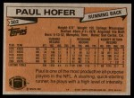 1981 Topps #302  Paul Hofer  Back Thumbnail