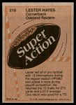 1981 Topps #218  Lester Hayes  Back Thumbnail