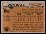 1981 Topps #347  Don Bass  Back Thumbnail