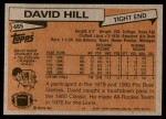 1981 Topps #485  David Hill  Back Thumbnail