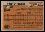 1981 Topps #431  Tony Reed  Back Thumbnail