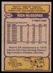 1979 Topps #243  Rich McGeorge  Back Thumbnail