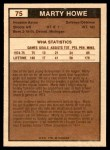 1975 O-Pee-Chee WHA #75  Marty Howe  Back Thumbnail
