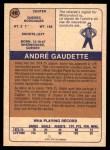 1974 O-Pee-Chee WHA #46  Andre Gaudette  Back Thumbnail