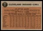 1962 Topps #537   Indians Team Back Thumbnail