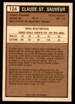 1975 O-Pee-Chee WHA #124  Claude St.Sauveur  Back Thumbnail