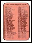 1975 O-Pee-Chee WHA #131   Checklist Front Thumbnail
