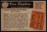 1955 Bowman #109  Vern Stephens  Back Thumbnail