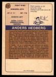 1974 O-Pee-Chee WHA #17  Anders Hedberg  Back Thumbnail
