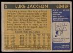 1971 Topps #5  Luke Jackson   Back Thumbnail
