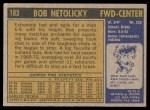 1971 Topps #183  Bob Netolicky  Back Thumbnail