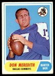 1968 Topps #25  Don Meredith  Front Thumbnail