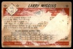 1953 Bowman #142  Larry Miggins  Back Thumbnail