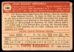 1952 Topps #140 CRM Johnny Antonelli  Back Thumbnail