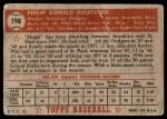 1952 Topps #198  Phil Haugstad  Back Thumbnail