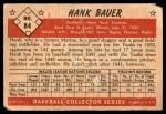 1953 Bowman #84  Hank Bauer  Back Thumbnail