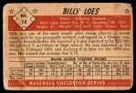 1953 Bowman #14  Billy Loes  Back Thumbnail