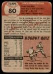 1953 Topps #80  Jim Hegan  Back Thumbnail