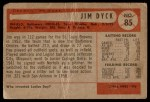 1954 Bowman #85 ALL Jim Dyck  Back Thumbnail