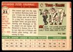 1955 Topps #21  Alex Grammas  Back Thumbnail