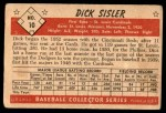 1953 Bowman B&W #10  Dick Sisler  Back Thumbnail
