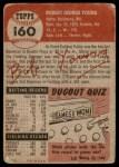 1953 Topps #160  Bob Young  Back Thumbnail