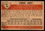 1953 Bowman #116  Eddie Yost  Back Thumbnail