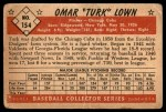 1953 Bowman #154  Turk Lown  Back Thumbnail