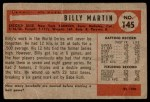 1954 Bowman #145 2B Billy Martin  Back Thumbnail