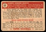 1952 Topps #131 CRM Morrie Martin  Back Thumbnail