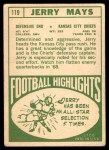 1968 Topps #119  Jerry Mays  Back Thumbnail