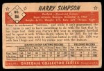 1953 Bowman #86  Harry Simpson  Back Thumbnail