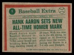 1975 Topps #1   -  Hank Aaron Sets Homer Mark Back Thumbnail