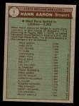 1976 Topps #1   -  Hank Aaron Record Breaker Back Thumbnail