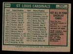 1975 Topps #246   -  Red Schoendienst Cardinals Team Checklist Back Thumbnail