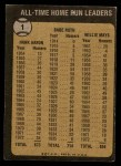 1973 Topps #1   -  Hank Aaron / Babe Ruth / Willie Mays All Time HR Leaders Back Thumbnail