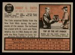 1962 Topps #531  Bobby Gene Smith  Back Thumbnail