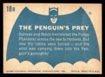 1966 Topps Batman Blue Bat Back #18 BLU  The Penguin's Prey Back Thumbnail