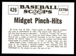 1961 Nu-Card Scoops #426   -  Eddie Gaedel Midget Pinch-Hits for St Louis Browns Back Thumbnail